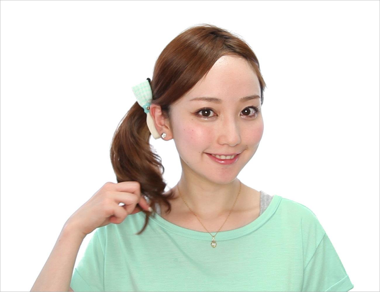 リボン型バナナクリップを使った編み込みヘア