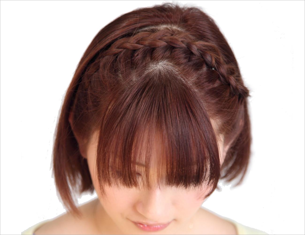 顔周りカチューシャ風編み込みヘア
