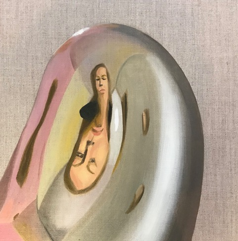 Selbstportrait, 2021, Öl auf Leinwand, 30 x 30 cm