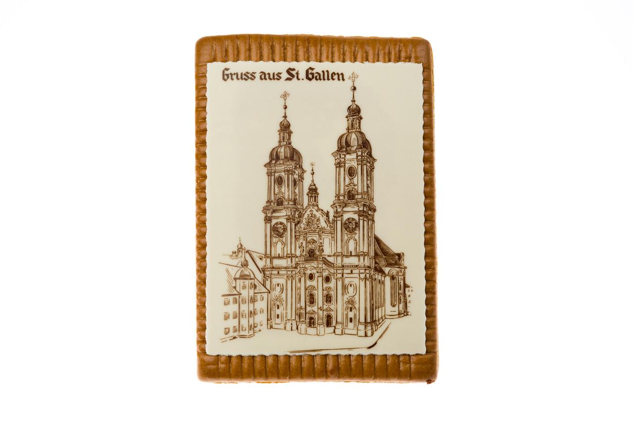 St. Galler Biber mit Klosterbild aus Marzipan