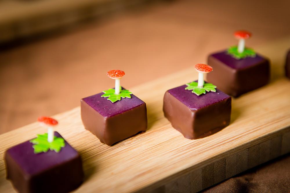 Cassis, Pfefferminz mit Haselnusscrunch: Bestes geschnittenes Praliné am Swiss Chocolat Masters 2013 in Bern. Hergestellt von Vanessa Schnyder