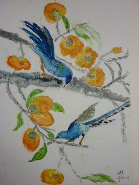 2 blaue Vögelchen - nach Vorlage März 2014