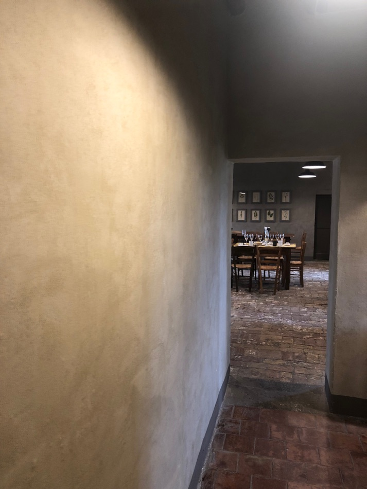 these natural lime walls surrounded us when having our champaign