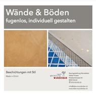 Voransicht Broschüre Info Gestaltung fugenlose Wand- und Bodenbeläge Beschichtung Nassbereich Dusche Badezimmer made in Zurich