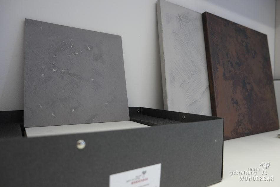 Teile der neuen Kollektion - Oberflächen in Handarbeit: Stein, Rost, Vintage Kalk