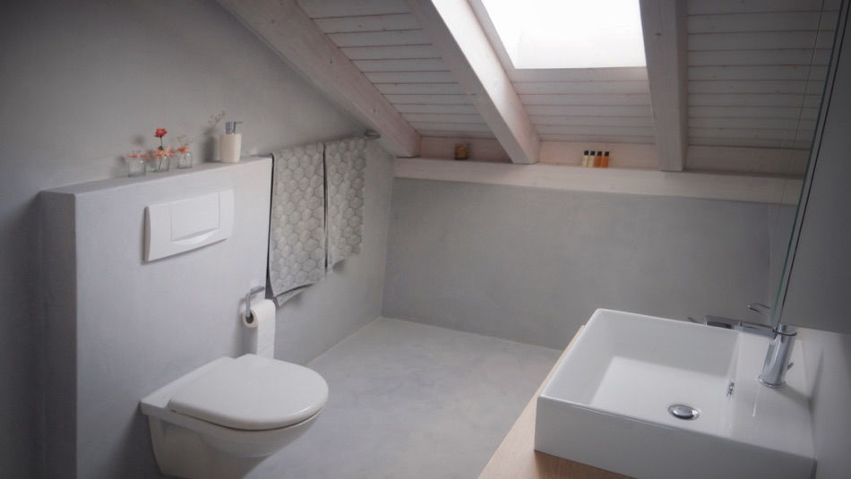 bathroom - jointless microcement topping with individual color and structure
