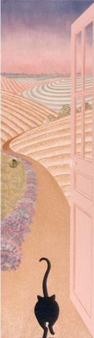 Vers les champs (porte peinte avec chattière)