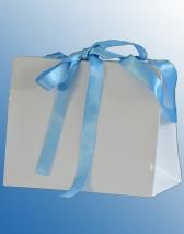 Hochwertige Papiertragetaschen mit Druck und Satinbandverschluss