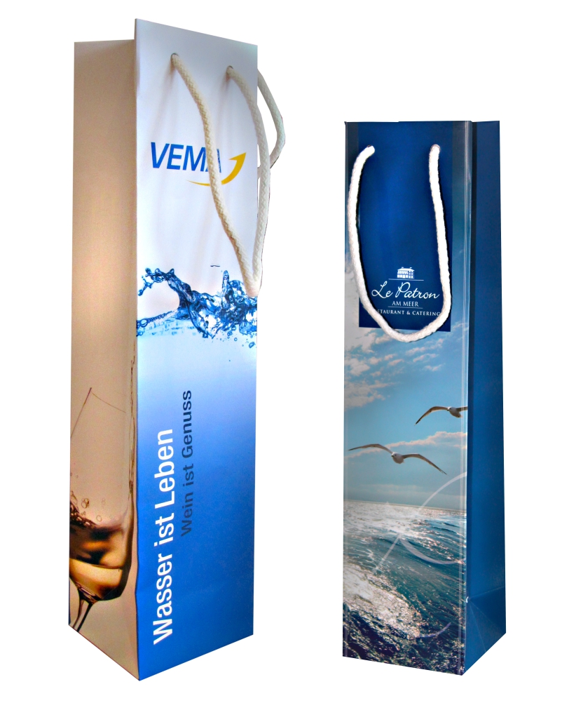 Werbetaschen aus Papier für Flaschen vollflächig bedrucken lassen