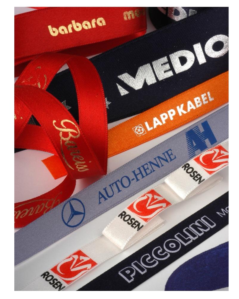 Satinbänder und Band aus Doppelsatin mit Druck Firmenaufdruck