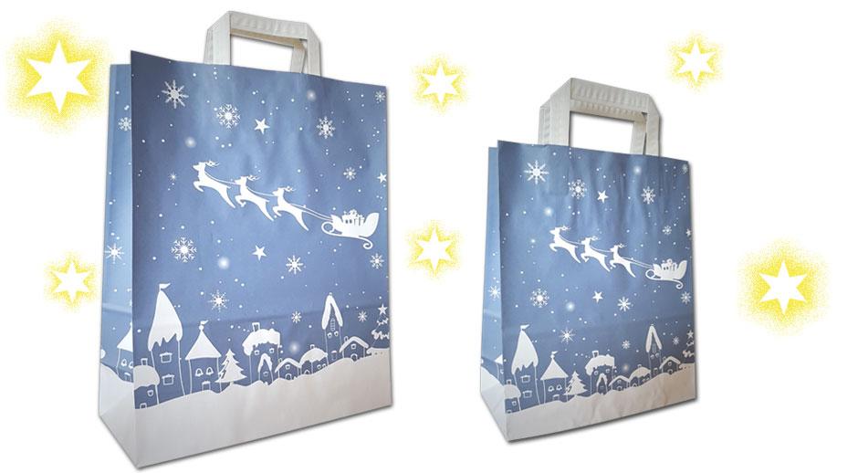 Weihnachtaschen und Weihnachtstüten mit Weihnachtsmotiv Schlitten aus Papier mit Papiergriff