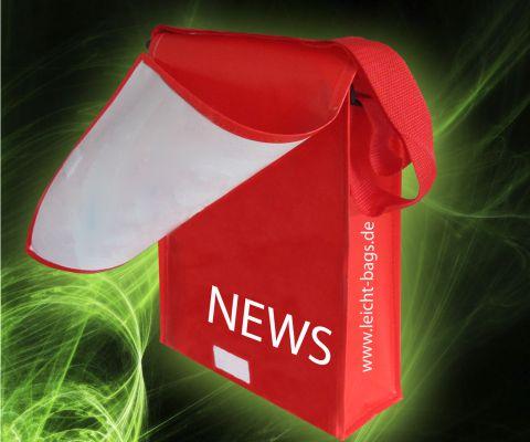 Tragetasche Postmanbag PP Non Woven Taschen mit Umschlag und Klappe zum verschließen mit matter laminierung matt Laminiert für Messen und Verkauf