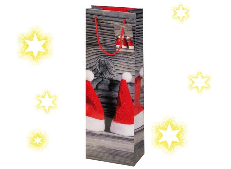Flaschentüten Weihnachten aus Lackpapier mit Zipfelmützen in rot mit weißem Bommel bedruck als Griff ist eine Kordel in rot eingeknotet an der ein kleines Kärtchen befestigt ist ideal für Ihre Weihnachtsgrüße