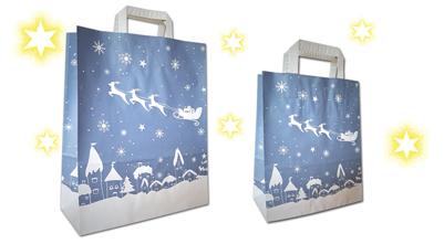 Weihnachtstaschen Schlitten Tragetaschen mit Weihnachtmotiv Weihnachtstüten in blau weihnachtlich bedruckt