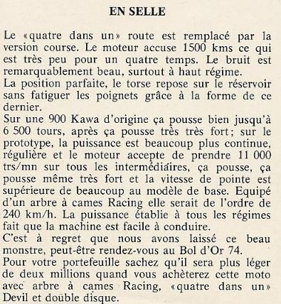 Extrait de KICK N°12 Avril 1973