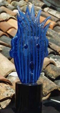 """Über den Dächern von Venedig, Blue Stripped Head, aus der Serie """"Venetian Heads"""", 1994 von K.K. ©Galerie Walker, Kiki Kogelnik Foundation"""