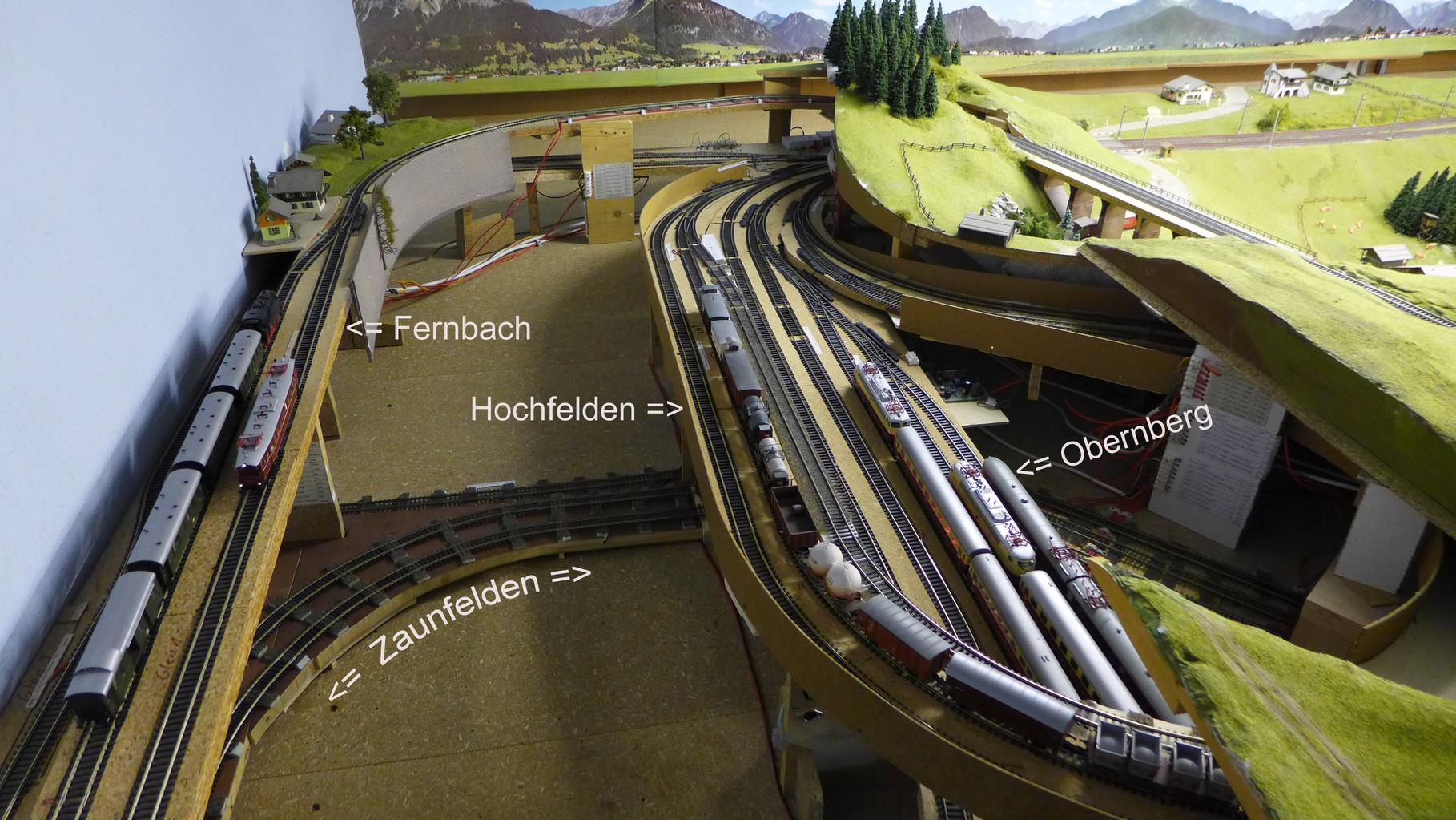 Vier von meinen 16 dezentral angeordneten Schattenbahnhöfen