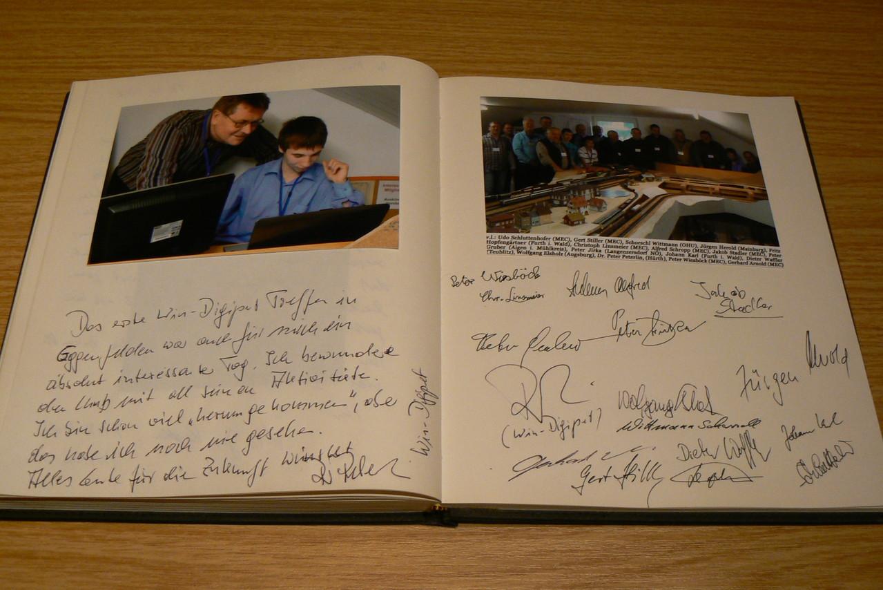 Eintrag ins Gästebuch von Peter Peterlin beim 1. Win-Digipet-Anwendertreffen in Eggenfelden (Nov- 2007)