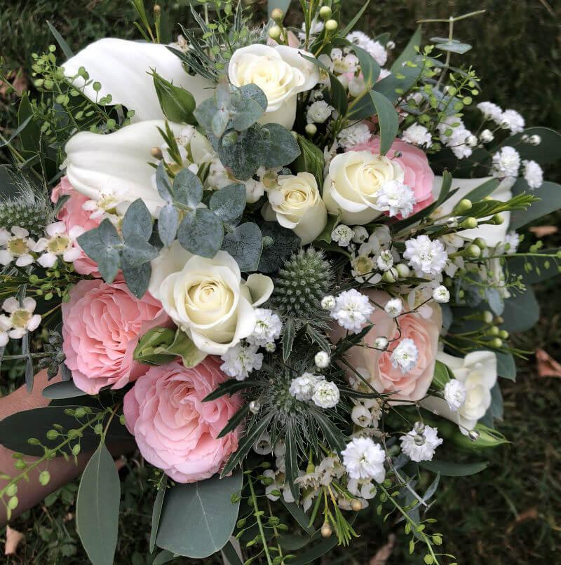 Bouquet de mariée Bohème rose et blanc