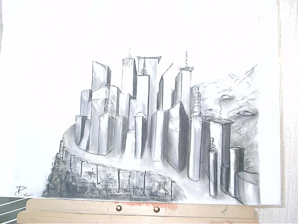 ville futuriste à la craie