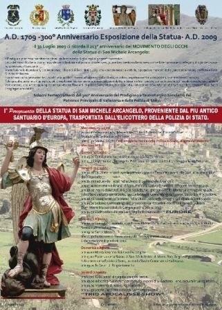 Programma 1° Peregrinatio della Statua di San Michele proveniente da Monte Sant'Angelo (Fg) in occasione dei Festeggiamenti del Centenario Luglio 2009