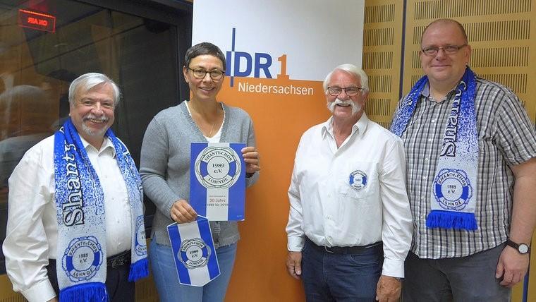v.l.n.r.: R. Zikowski, M. Gilica, K. Hanel, M. Tewes im Funkhaus Niedersachsen
