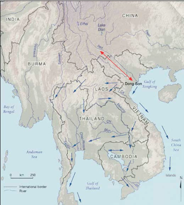 South-Asia continental main waterways with commercial routes