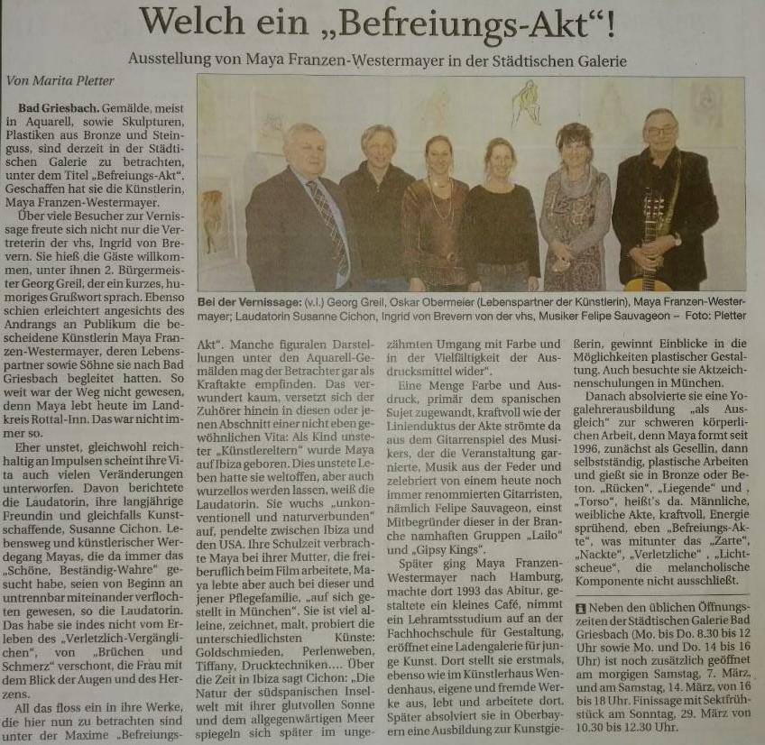 """Passauer Neue Presse  über Ausstellung """"Befreiungsakt"""" der Künstlerin Maya Franzen"""