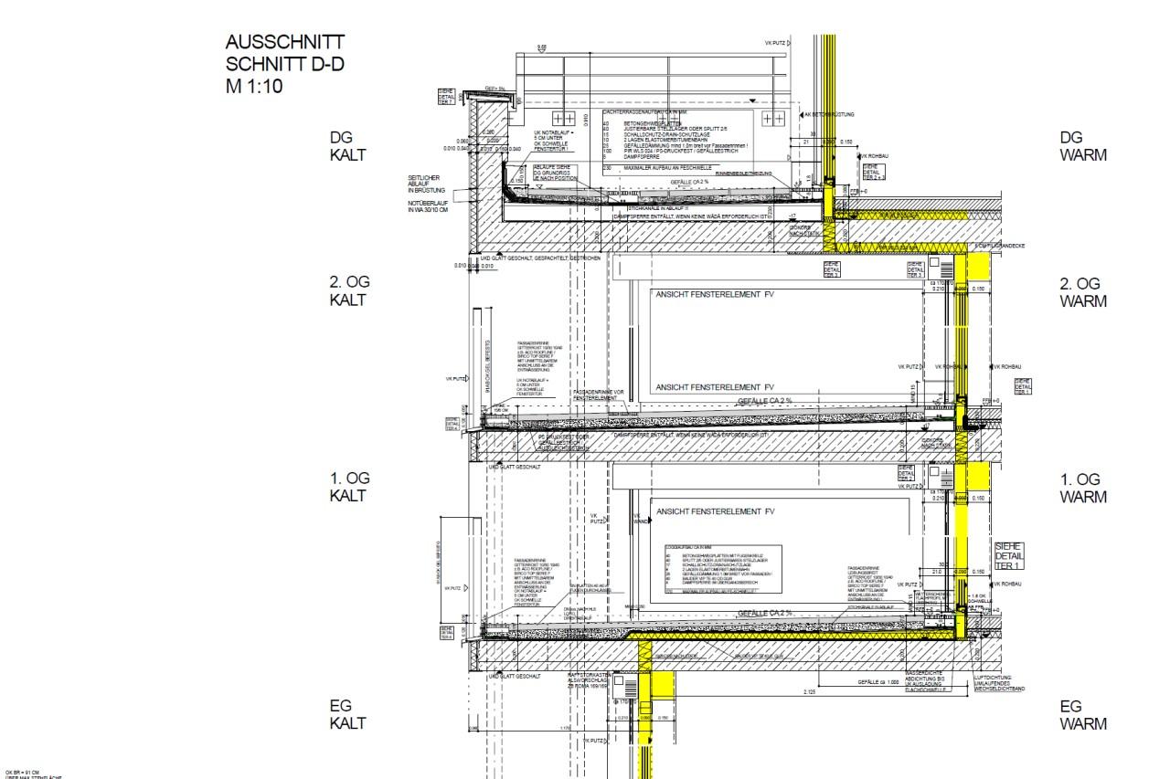 Detailschnitt mit hochwärmegedämmten Loggien und Terrassen, rollstuhlgerechten Schwellen