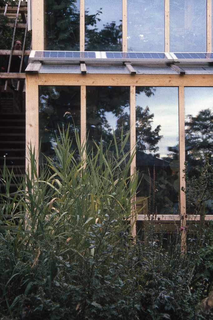 Glashaus mit Photovoltaik, passive und aktive Solarnutzung
