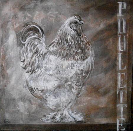 peinture poule sur toile