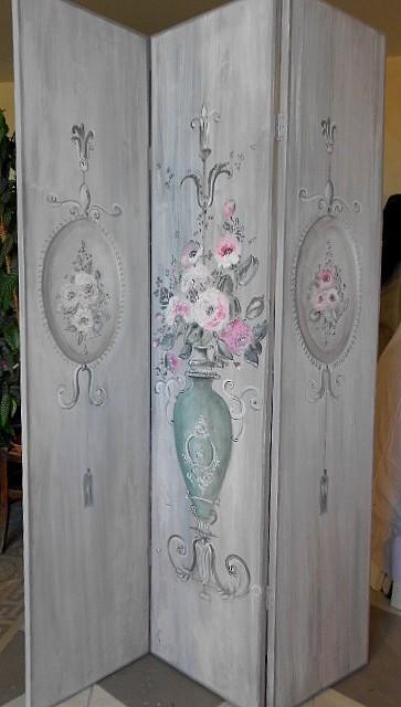 paravent  peinture ornementale, gris et rose