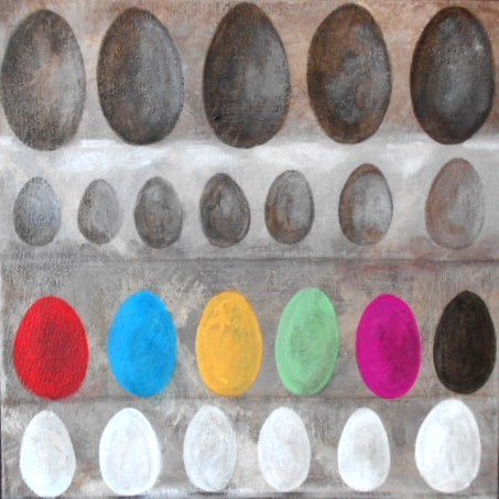 peinture colorée d'oeufs sur toile