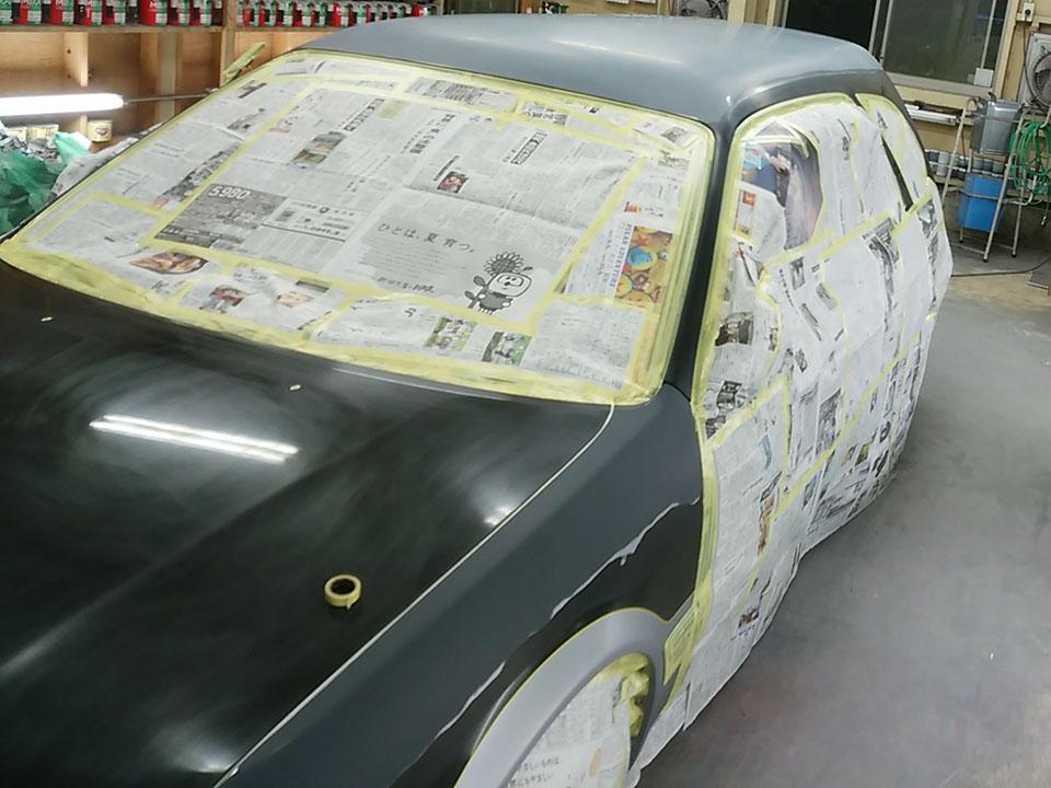 サフェーサー塗装後、本塗装・クリア塗装後磨き作業施工、完成