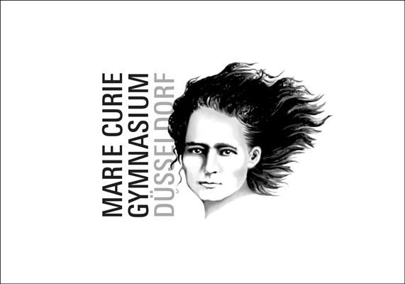 Wort-Bildmarke für das Marie-Curie-Gymnasium, Düsseldorf