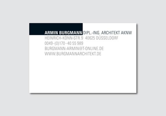 Visitenkarte für den Architekten Armin Burgmann, Düsseldorf