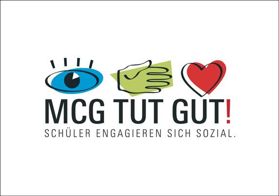 Wort-Bildmarke für ein Schulprojekt zum sozialen Engagement am Marie-Curie-Gymnasium, Düsseldorf