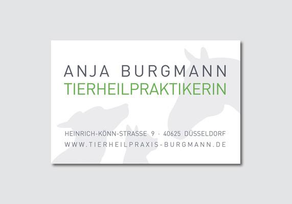 Visitenkarte für die Tierheilpraxis Anja Burgmann, Düsseldorf