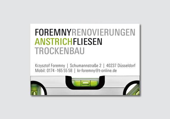 Visitenkarte für den Handwerker Krzysztof Foremny, Düsseldorf