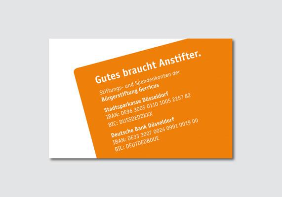 Visitenkarte für die Bürgerstiftung Gerricus, Düsseldorf | Rückseite