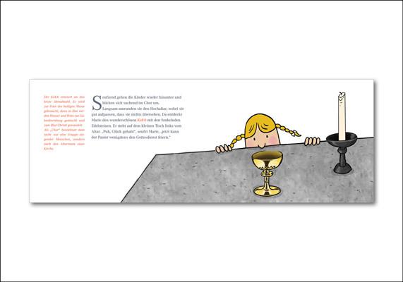 Basilika St. Margareta, Düsseldorf | Thema »Schatzkammer« | Einzelseite aus dem Kirchencomic für Kinder »Die Suche nach dem verlorenen Schatz«