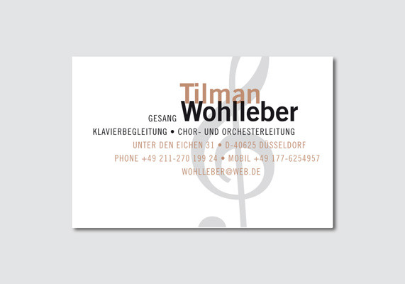 Visitenkarte | Chor- und Orchesterleiter Tilman Wohlleber, Düsseldorf