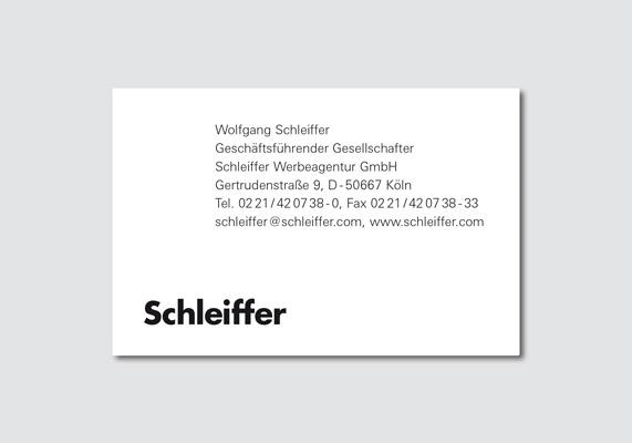 Visitenkarte | Schleiffer Werbeagentur, Köln