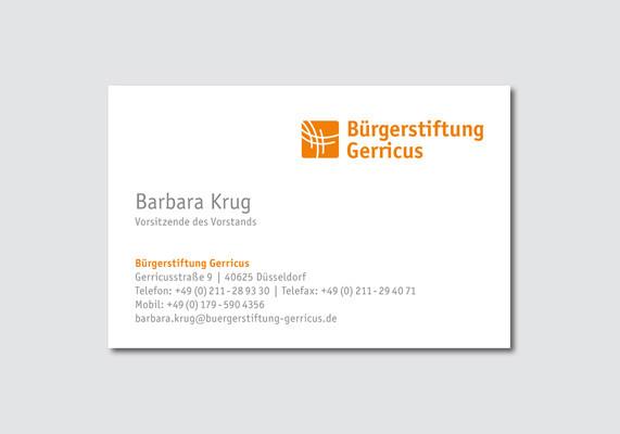 Visitenkarte für die Bürgerstiftung Gerricus, Düsseldorf | Vorderseite