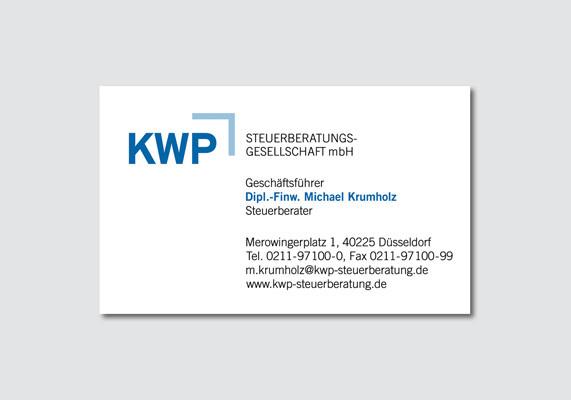 Visitenkarte für die KWP Steuerberatungsgesellschaft mbH, Düsseldorf