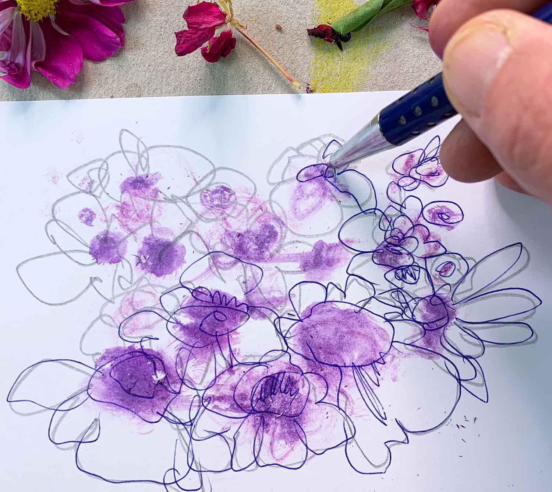 Blumen malen und zeichnen – mit Farbsäften aus Beeren und Blütenblättern