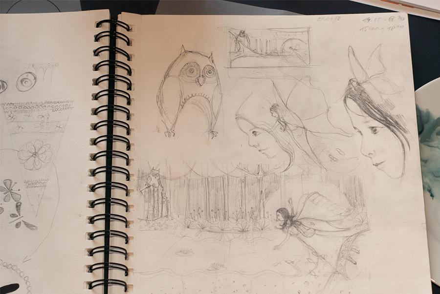 Illustration als Einschulungsgeschenk-Skizze