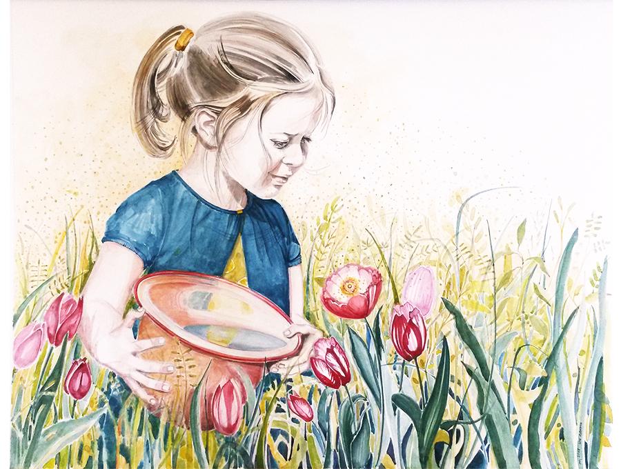 Portrait Kind-Mädchen und Blumen-Aquarell