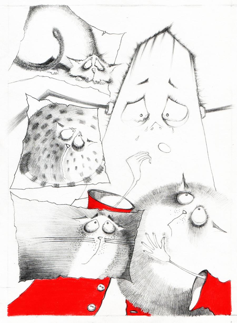 Illustration-Katzenmama-Bleistiftzeichnung