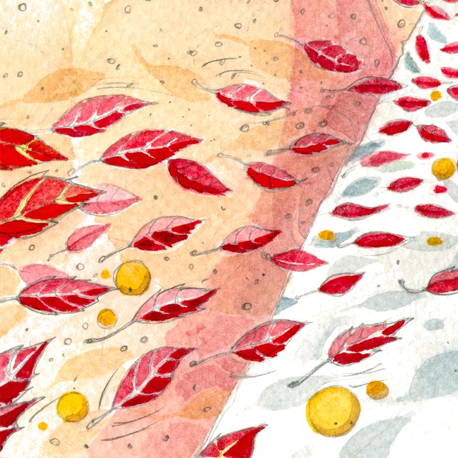 Illustration-Mädchen Buch und Baum-Aquarell